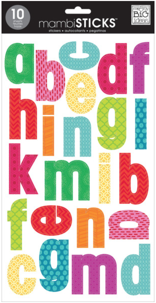 bright lowercase mambiSTICKS alphabet stickers | me & my BIG ideas