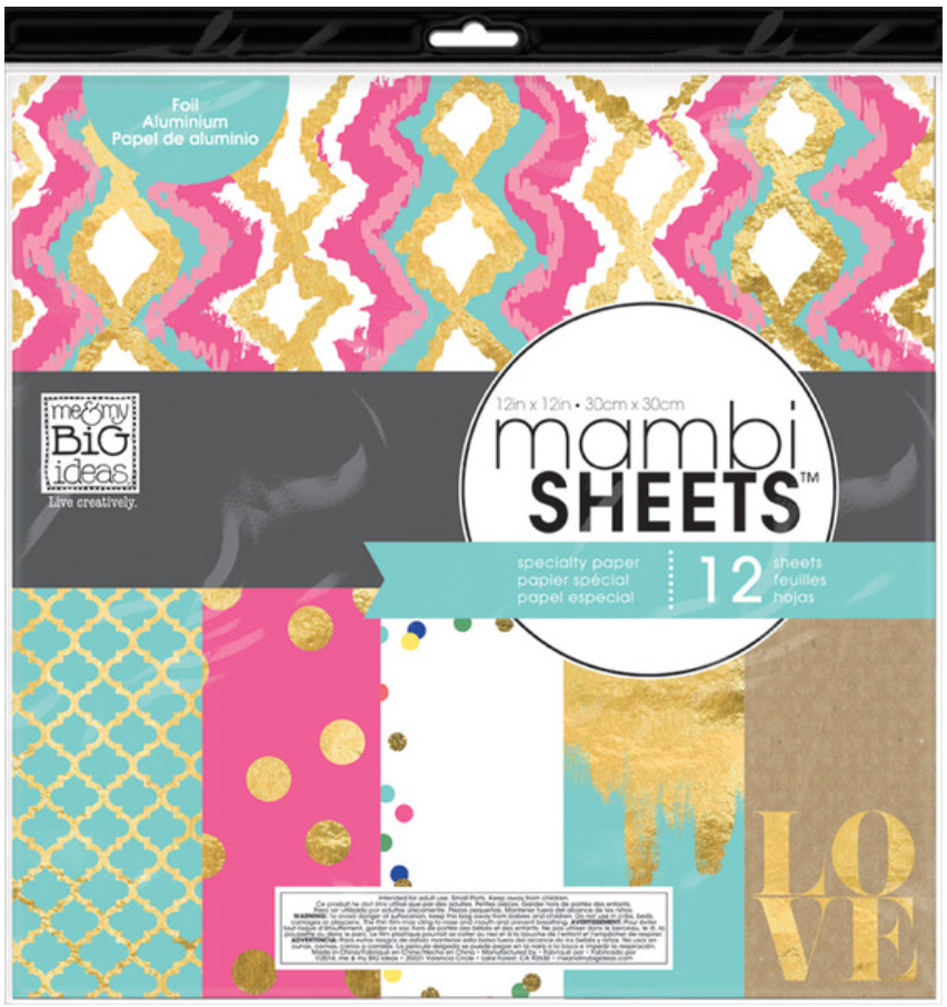 'Teal Pink Gold' mambiSHEETS 12x12 designer paper pack | me & my BIG ideas
