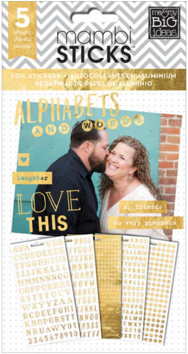Gold Foil Alphas & Words mambiSTICKS sticker pad | me & my BIG ideas