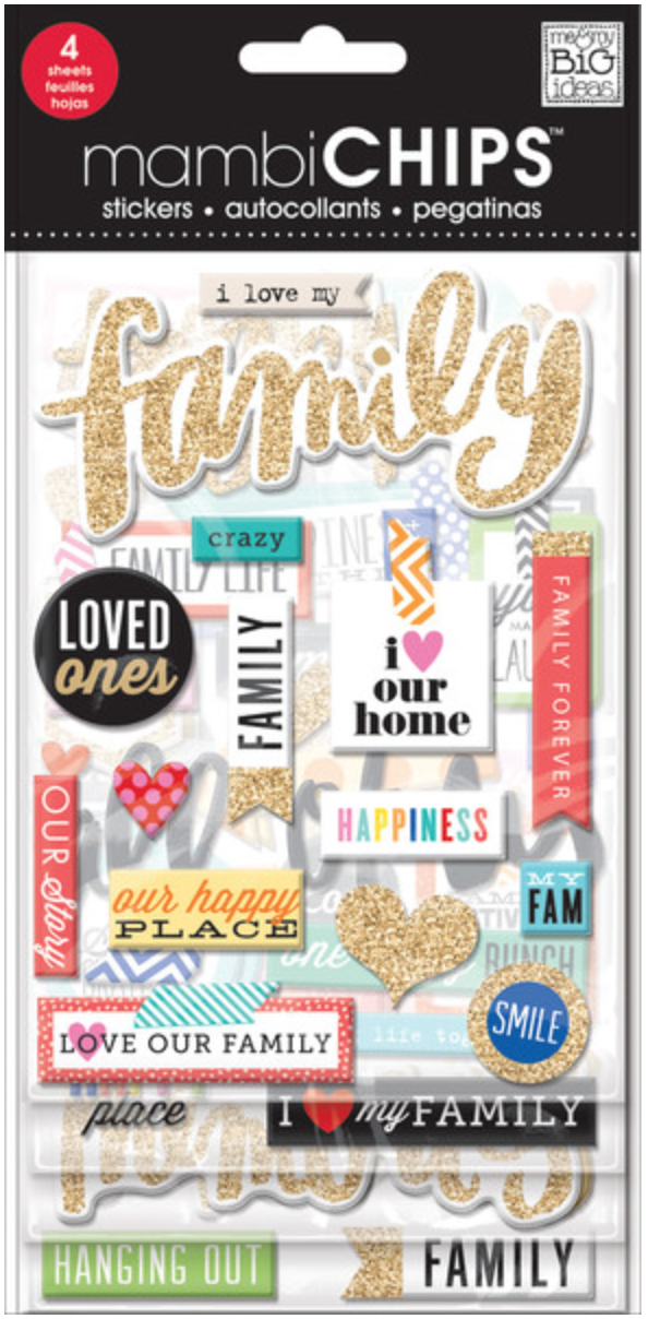'I Love My Family' mambiCHIPS chipboard sticker pack | me & my BIG ideas