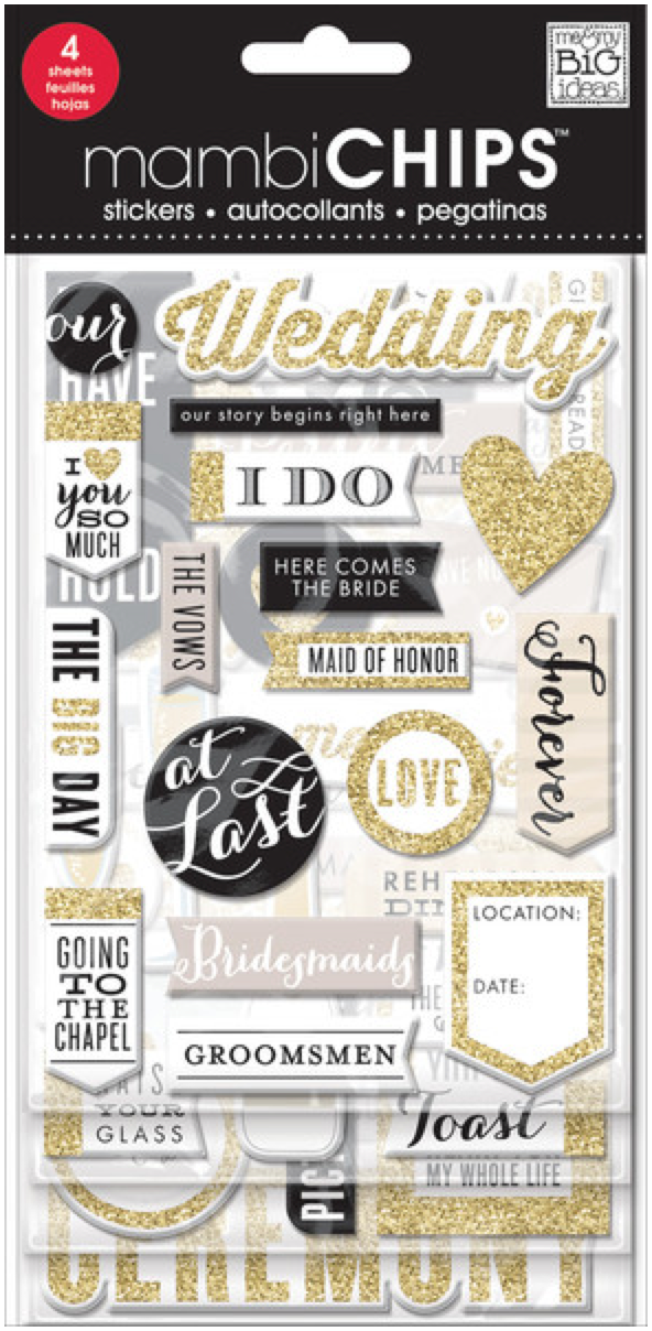 'The Big Day' mambiCHIPS chipboard srticker pack | me & my BIG ideas