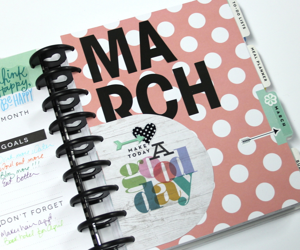 Create 365™ The Happy Planner™ March monthly spread of mambi Design team member Candi Billman | me & my BIG ideas