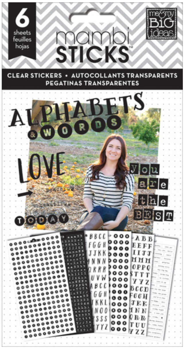 Black Alpahs & Words mambiSTICKS clear sticker pad | me & my BIG ideas