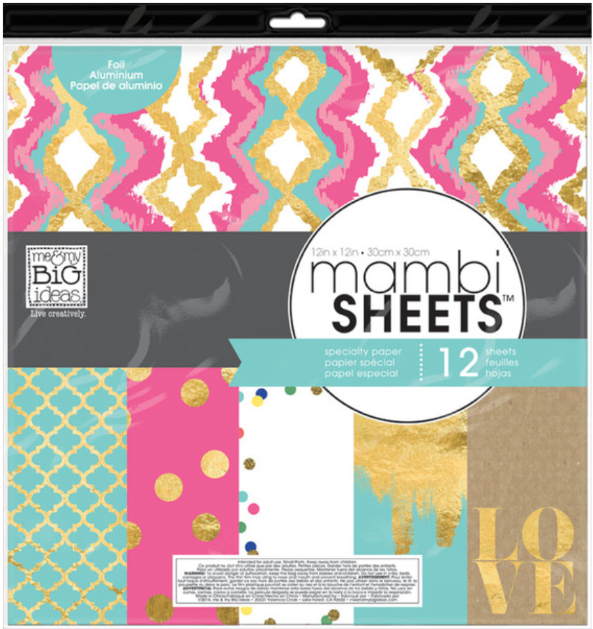 'Teal, Pink & Gold' 12x12 mambiSHEETS designer paper pack | me & my BIG ideas