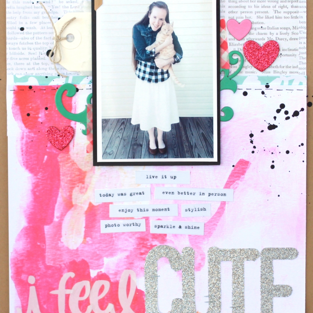 'I feel CUTE' scrapbook page using new mambiSHEETS