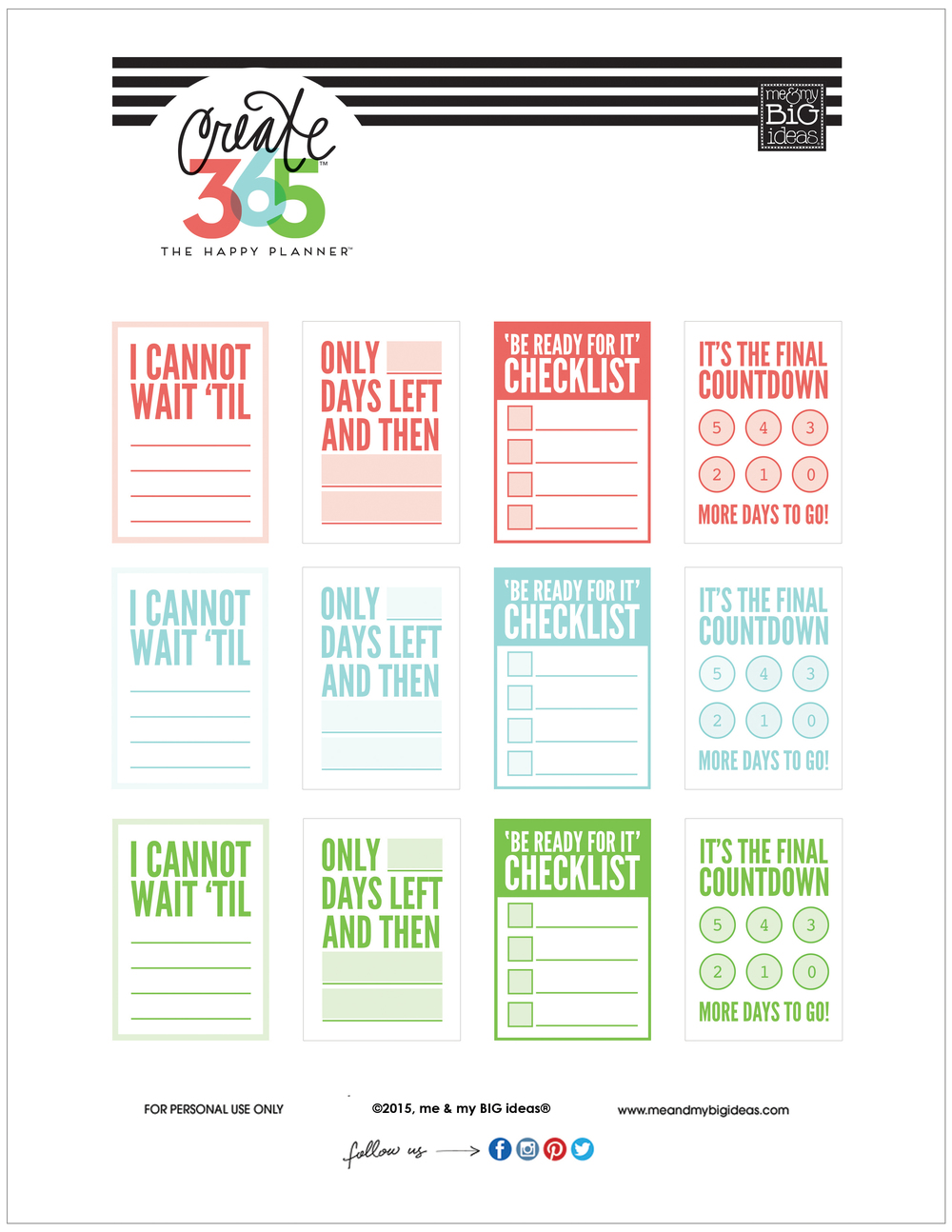 39 countdown 39 free printables for the happy planner me for Make a planner free