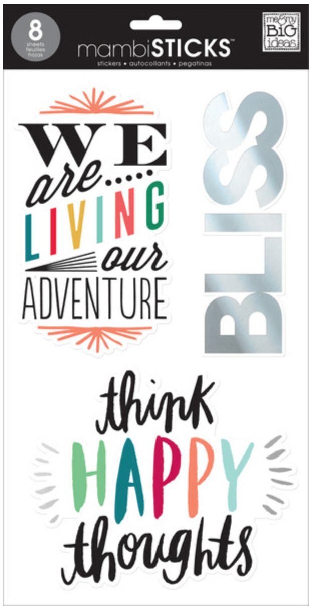 'Think Happy Thoughts' mambiSTICKS jumbo clear stickers | me & my BIG ideas