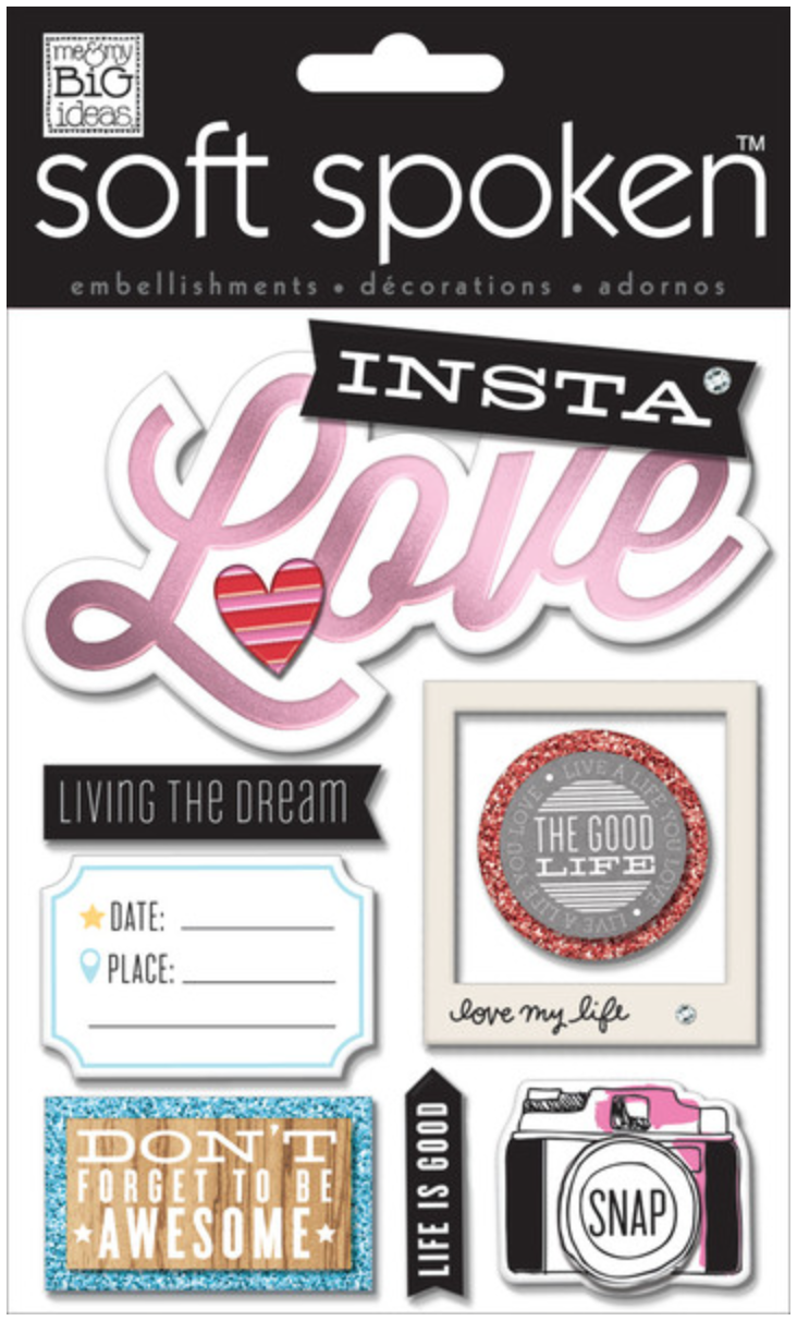 'Insta Love' SOFT SPOKEN™ embellishment stickers | me & my BIG ideas