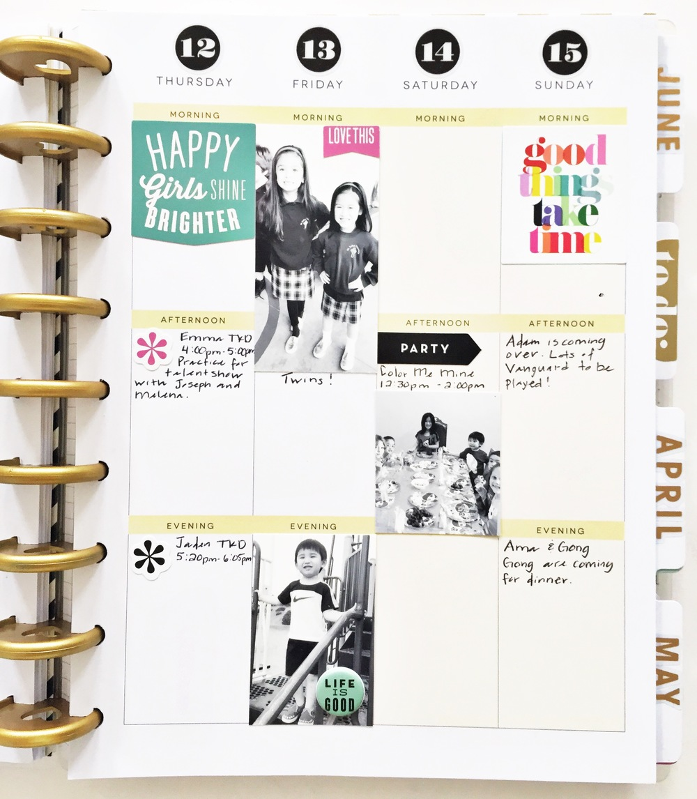 Create 365™ The Happy Planner™ weekly spread w/ to-dos, photos & lots of white space by mambi Design Team member Theresa Doan | me & my BIG ideas