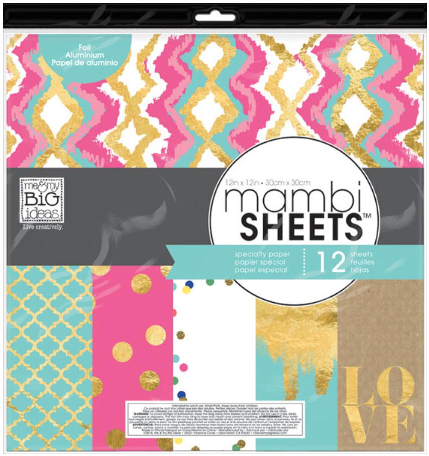 'Teal, Pink & Gold' 12x12 mambiSHEETS designer paper pad | me & my BIG ideas