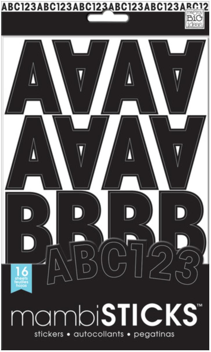medium Uppercase Black Alphabets mambiSTICKS stickers | me & my BIG ideas