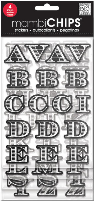 'Chalkboard Alphabet' mambiCHIPS chipboard alpha stickers | me & my BIG ideas