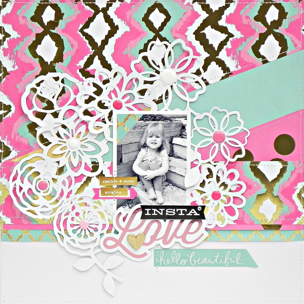 teal,pink,gold 'Insta Love' scrapbook layout
