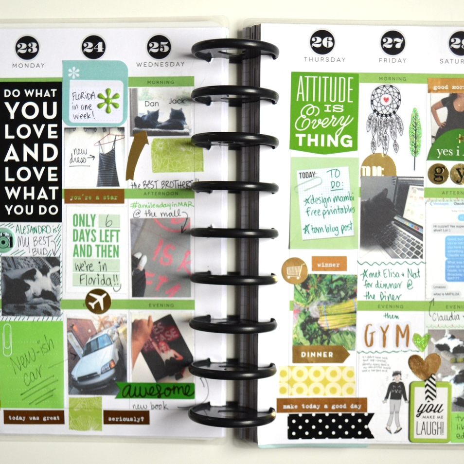 green-themed weekly Happy Planner™ spread