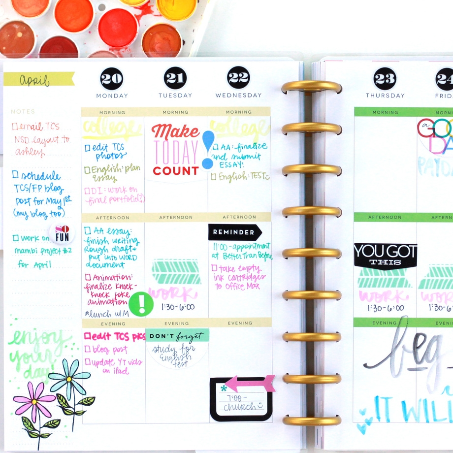 adding watercolor to The Happy Planner™