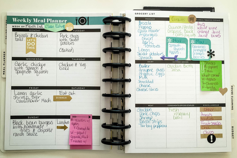 Create 365 The Happy Planner Meal Planner Put To Good