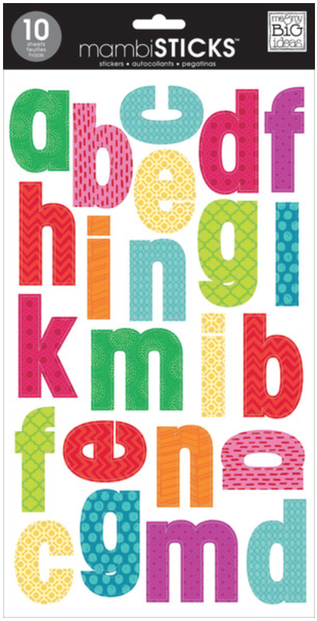 Bright Mini Prints Lowercase mambiSTICKS alphabet stickers | me & my BIG ideas