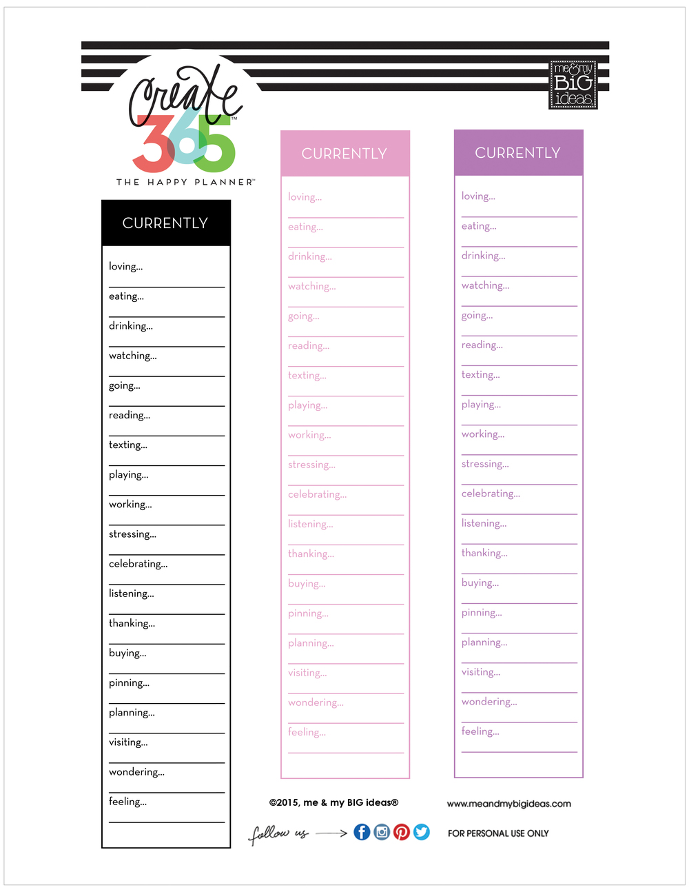 'CURRENTLY' free printables for The Happy Planner™ — me ...