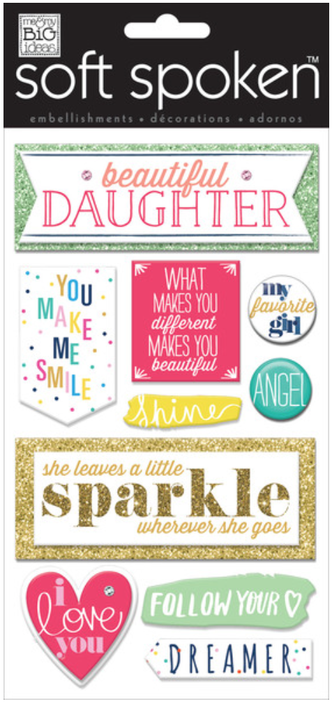 'Beautiful Daughter' SOFT SPOKEN™ 3D embellishment stickers | me & my BIG ideas
