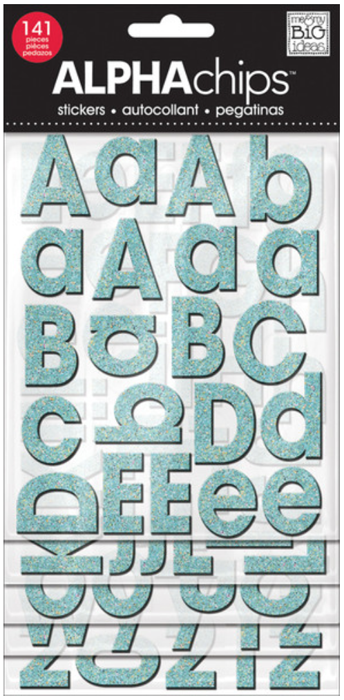 teal glitter alphaCHIPS chipboard alphabet stickers | me & my BIG ideas