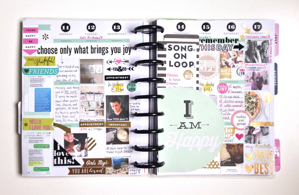 'I Am Happy' weekly spread in mambi Social Media Coordinator Amanda Zampelli's Create 365™ Happy Planner™ | me & my BIG ideas