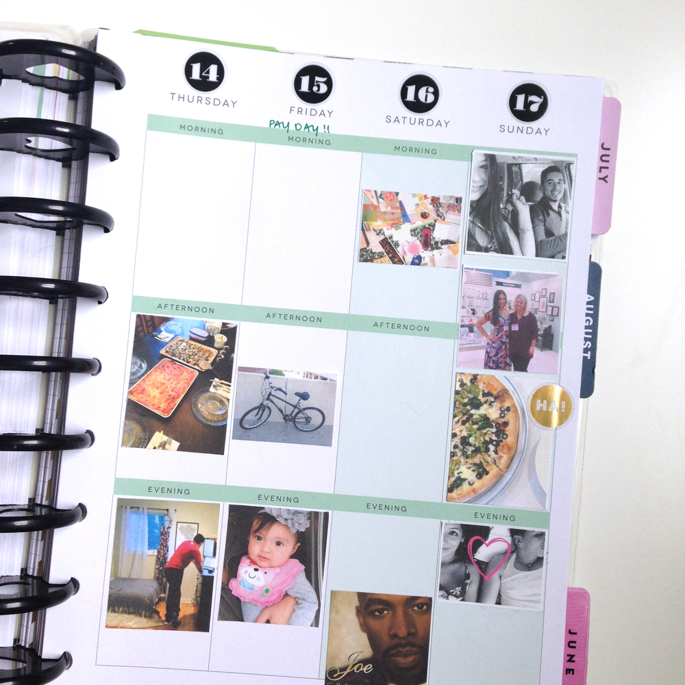 Step 2: adhere photos in columns of your Happy Planner™