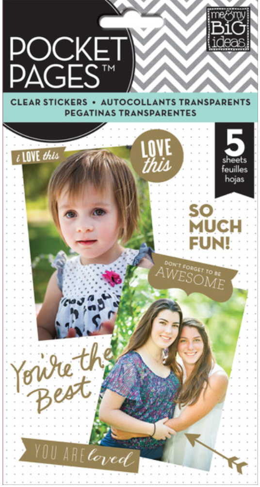 gold foil POCKET PAGES™ clear sticker pad | me & my BIG ideas