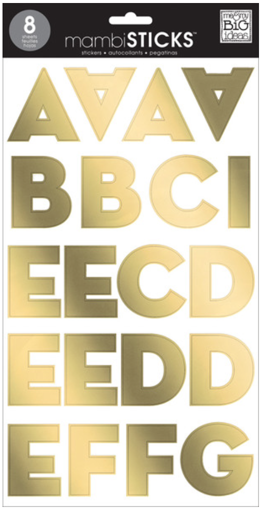 gold foil Uppercase Sans Serif mambiSTICKS alphabet stickers | me & my BIG ideas