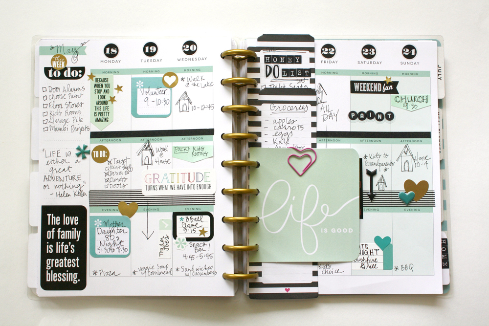 A minty happy planner spread helpful planner tips me for Happy planner ideas
