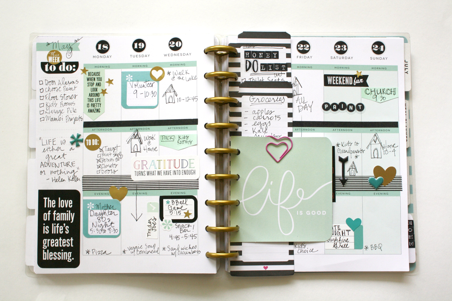 a minty happy planner spread helpful planner tips me my big ideas