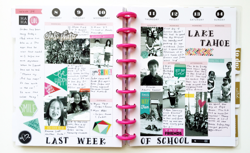 'Last Week of School' pages in mambi Design Team member Theresa Doan's Happy Planner™ | me & my BIG ideas