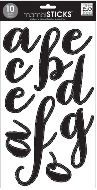 'Lowercase Black Script' mambiSTICKS alphabet stickers | me & my BIG ideas