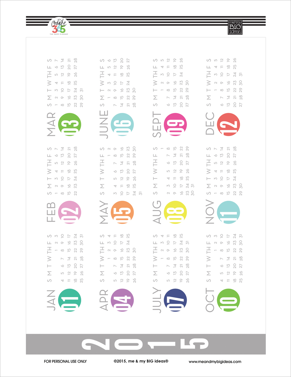 2015 'Year at a Glance' Free Printable for Create 365™ The Happy Planner™ | me & my BIG ideas