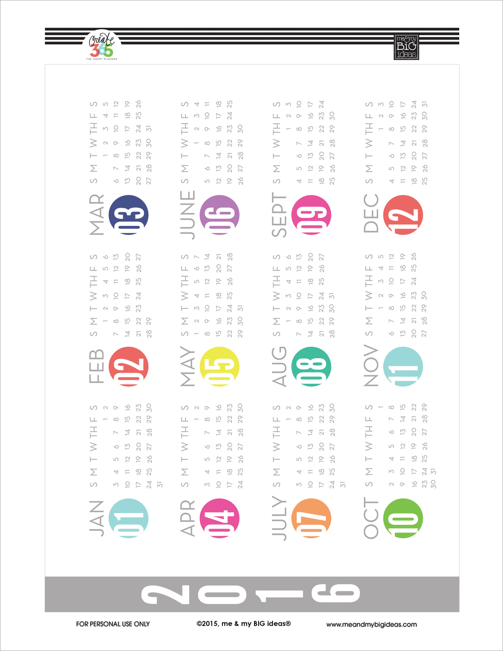 2016 'Year at a Glance' Free Printable for Create 365™ The Happy Planner™ | me & my BIG ideas