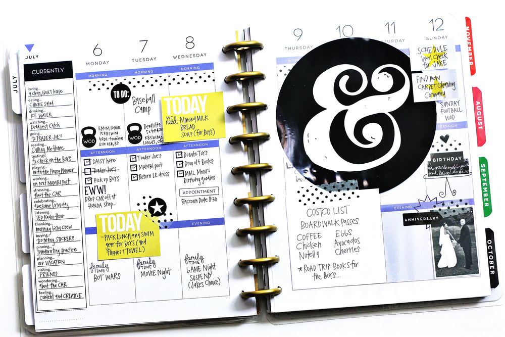 a July week in The Happy Planner™ of mambi Design Team member April Orr featuring a jumbo ampersand mambiSTICK insert | me & my BIG ideas