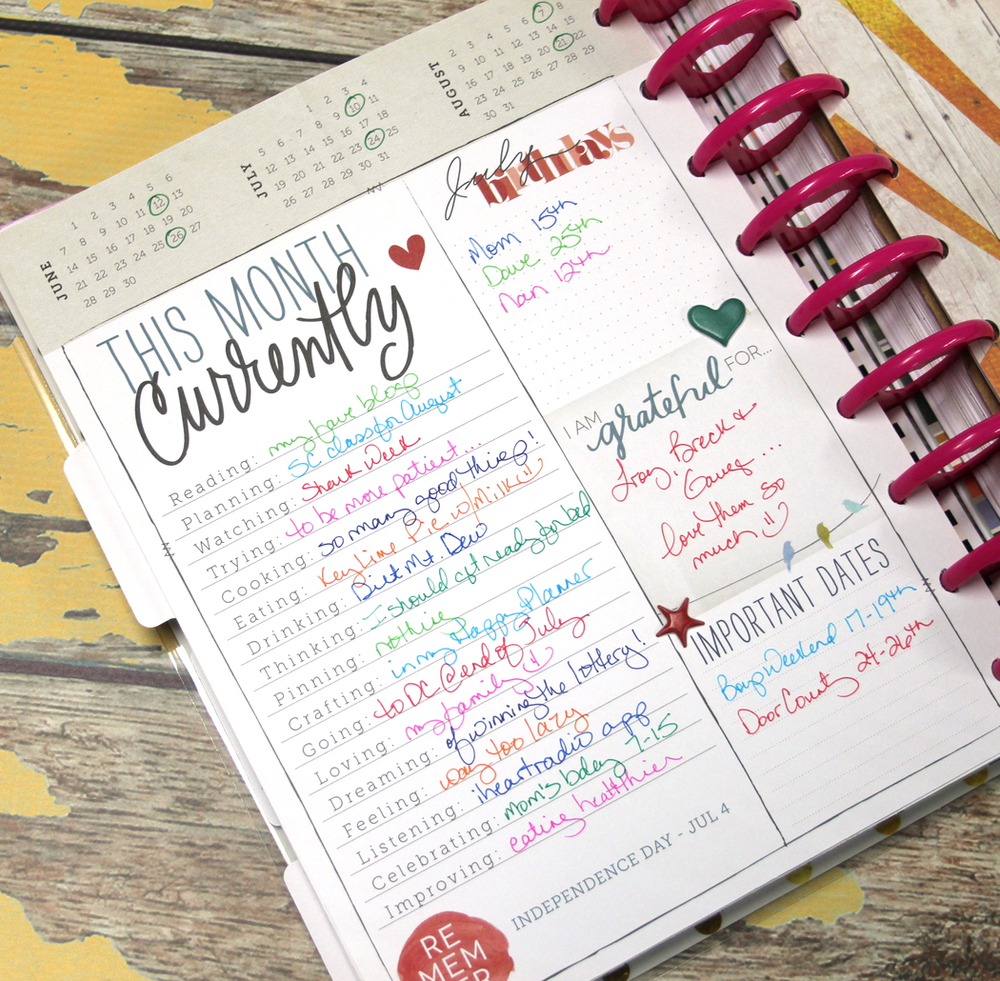 July CURRENTLY filled out in The Happy Planner™ of mambi Design Team member Candi Billman | me & my Big ideas