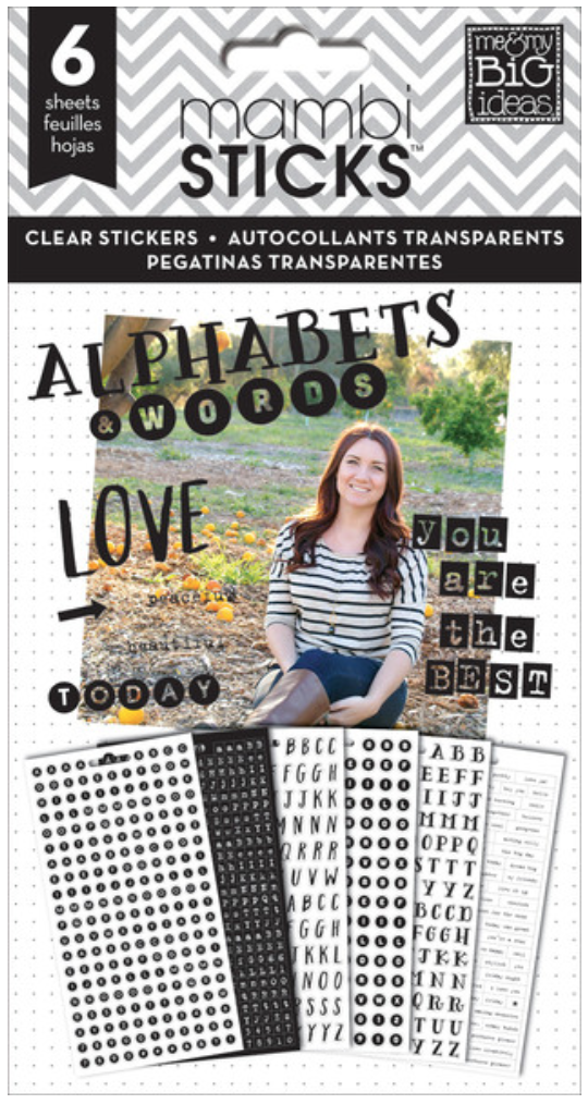 'Alphas & Words' mambiSTICKS clear black stickers | me & my BIG ideas