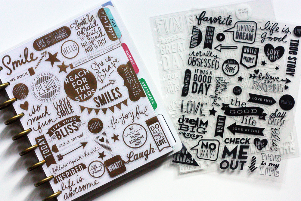 Happy Planner dashboards/covers of collaged mambiSTICKS created by mambi Design Team member April Orr | me & my BIG ideas