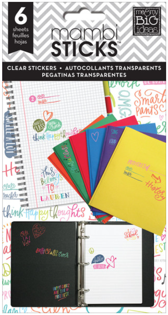 'School Sayings' colorful clear mambiSTICKS sticker pad | me & my BIG ideas