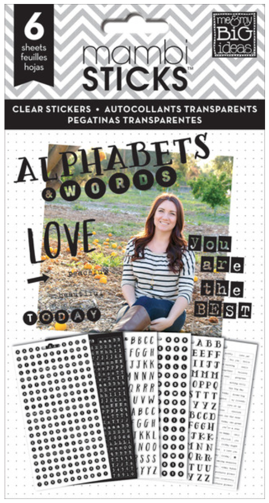 'Alphas & Words' black clear mambiSTICKS sticker pad | me & my BIG ideas