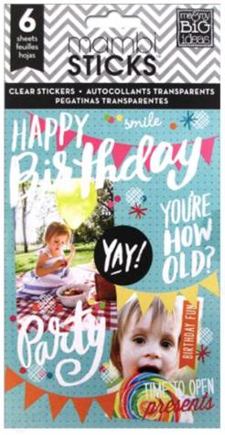 'Happy Birthday' mambiSTICKS clear sticker pad | me & my BIG ideas