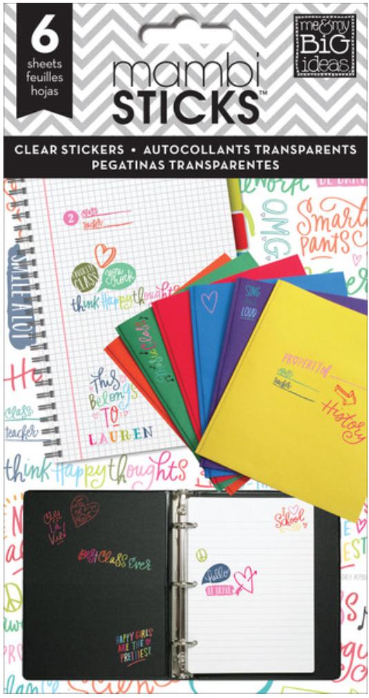 'School Saying' mambiSTICKS clear sticker pad | me & my BIG ideas
