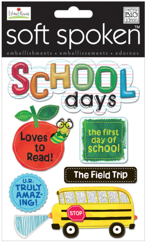 'School Days' Bookworm SOFT SPOKEN™ embellishment stickers | me & my BIG ideas
