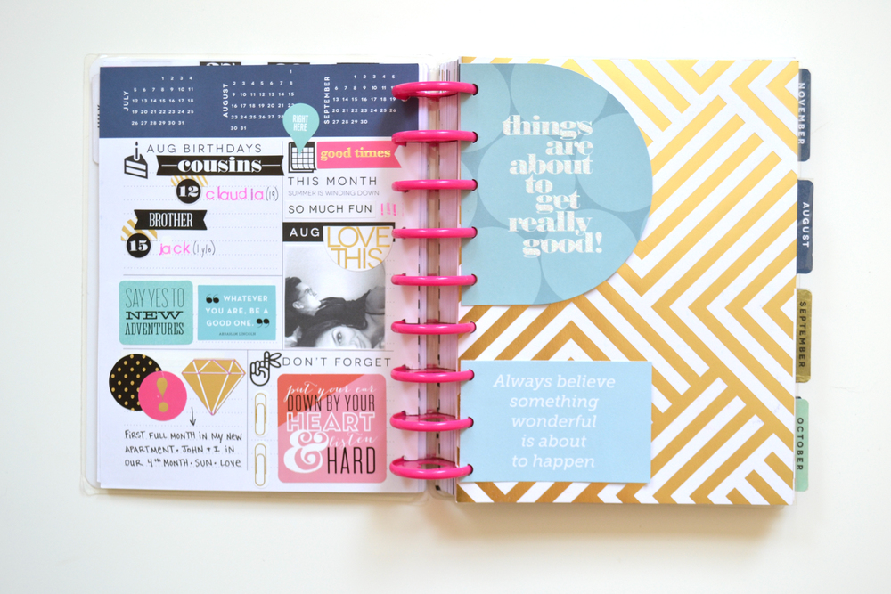 a July through August flip through in The Happy Planner™ of mambi Social Media Coordinator Amanda Zampelli | me & my BIG ideas
