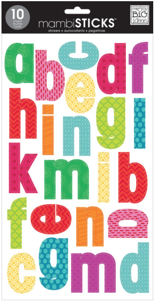 Medium Lowercase Bright mini prints mambiSTICKS alphabet stickers | me & my BIG ideas