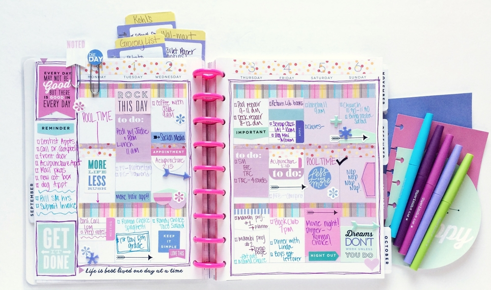 moms purple themed back to school spread by mambi design team member mary ann