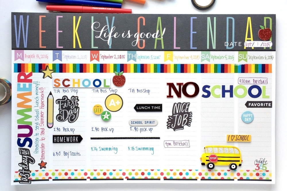 'Back to School' Weekly Planner Pad