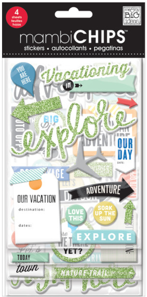 'Vacation' mambiCHIPS chipboard sticker pack | me & my BIG ideas