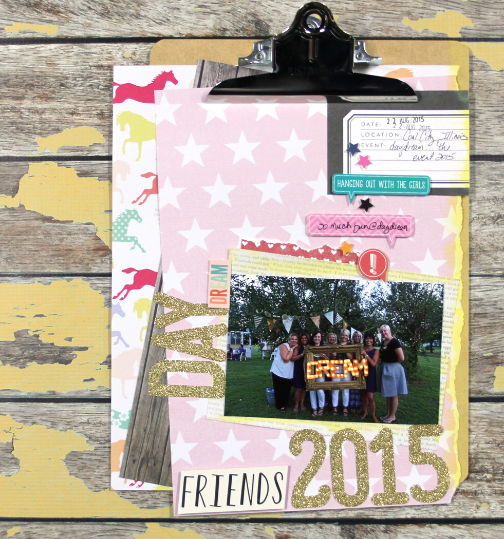 a scrapbook layout on a clipboard by mambi Design Team member Candi Billman | me & my BIG ideas