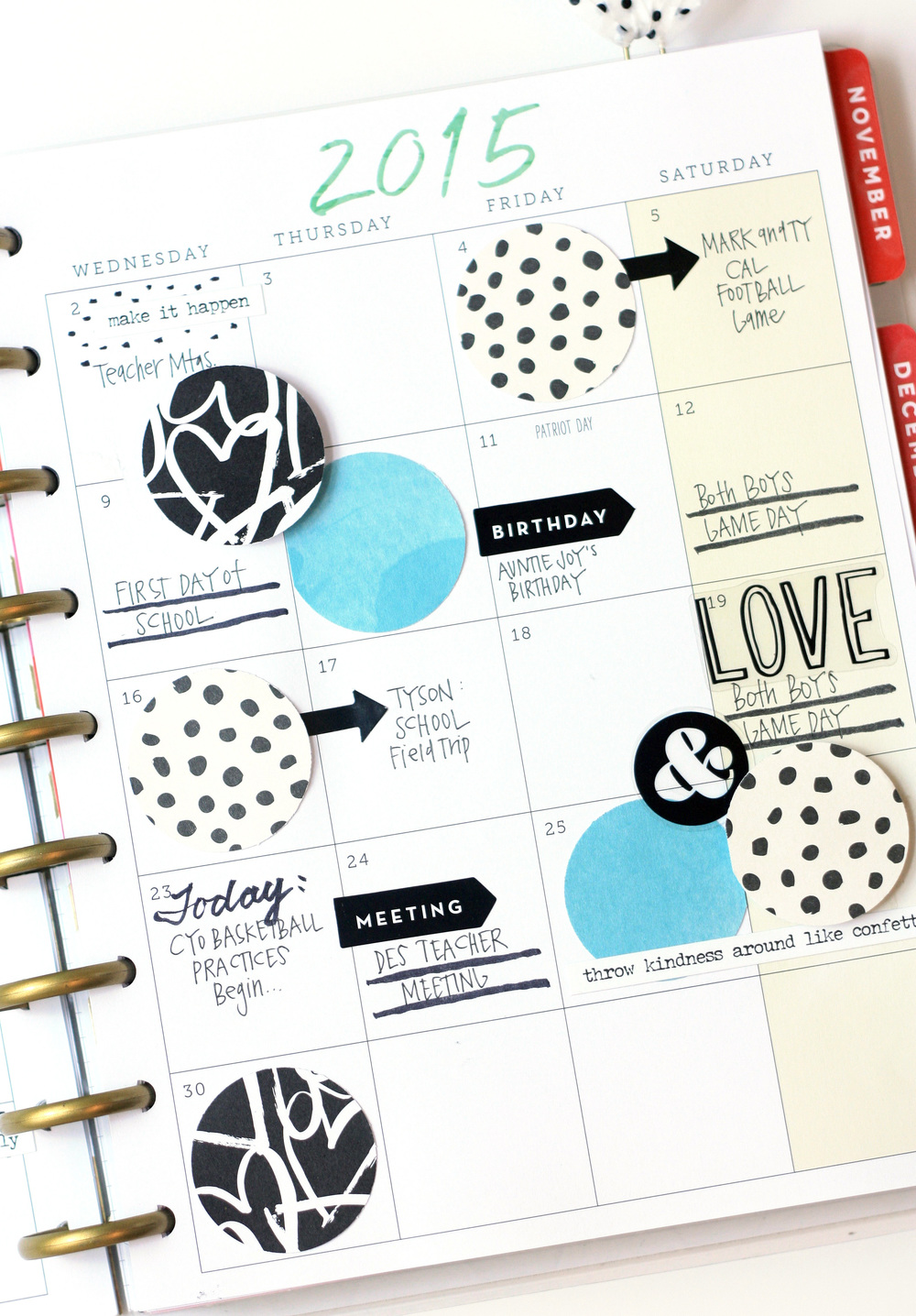 black & white & bright blue Septmeber monthly pages in The Happy Planner™ of mambi Design Team member April Orr | me & my BIG ideas